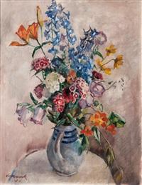 flowers in a jug by hugo volkwarth