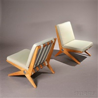 pair of scissor chairs by pierre jeanneret