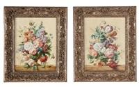floral still lifes (pair of works) by jan frans van dael
