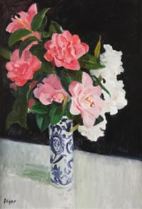 pink camellias by norman edgar