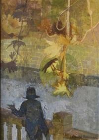 figure on a bridge by leonard rosoman