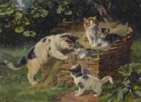 katzenmutter mit ihren vier jungen by julius adam the younger