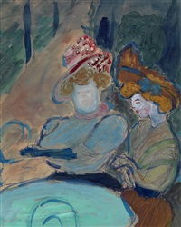 two women in a street café by marianne werefkin