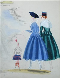 two ladies meeting a scotsman in a kilt by raoul dufy