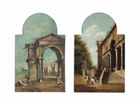 a venetian capriccio with figures, a church through an archway beyond; a palace courtyard with elegant figures conversing (pair) by francesco guardi