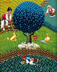landleben mit blauem baum by ljubomir milinkov