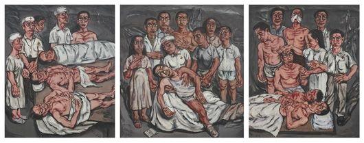 xiehe hospital series (triptych) by zeng fanzhi