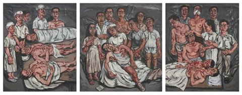 xiehe hospital series triptych by zeng fanzhi
