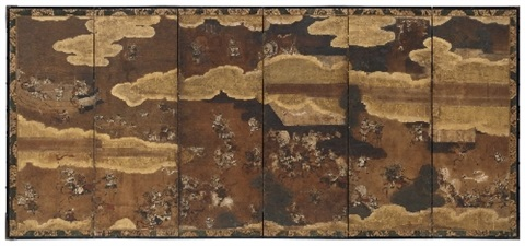 a six panel screen by an anonymous tosa school painter 17th18th century