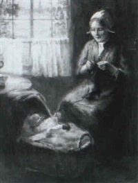 interior scene with woman knitting by eugene merlerst