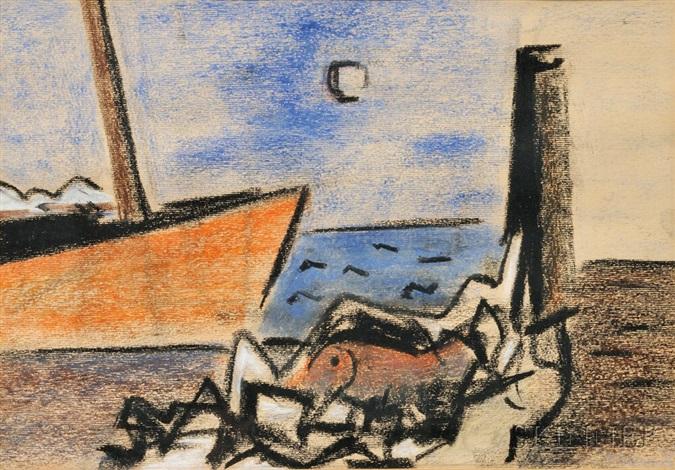 sailboat at the dock by herman maril