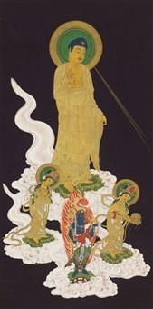 amida raigô, auf weißen wolken herabschwebend by kimura mitsutsuna