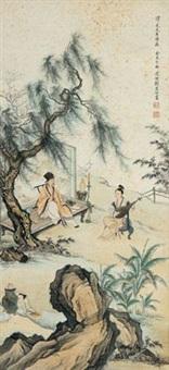赏琴图 by liu lingcang