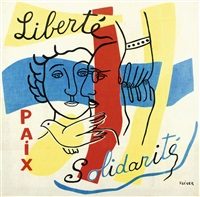 foulard liberté paix solidarité (portrait des époux rosenberg) by fernand léger