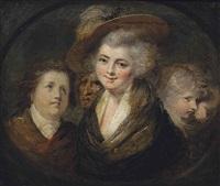 figure studies, in a feigned oval by johann joseph zoffany