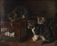 trois petits chats près de souris dans une cage by henriette ronner-knip