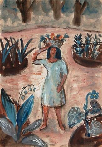 mädchen mit blumenkorb im garten by elisabeth ahnert