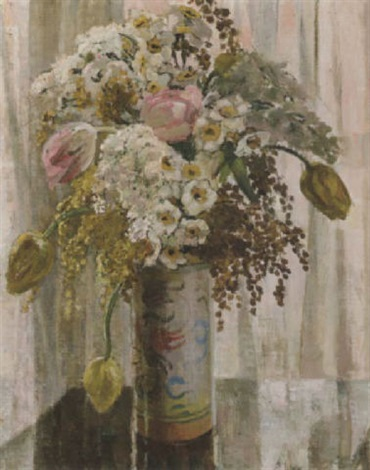 tulips and acacia by ethel gabain