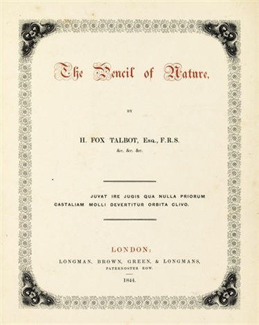 the pencil of nature 11 works folio 4to by william henry fox talbot