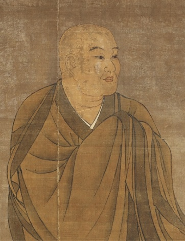 a hanging scroll with a portrait of ichigyû. muromachi period or later