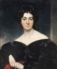 portrait of a lady, traditionally identified as lady pollock, half-length, in a black dress and red shawl by thomas lawrence