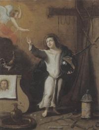 der jesusknabe mit der weltkugel, den passionswerkzeugen und einem engel der ihm den kelch reicht by hispano-flemish school (17)