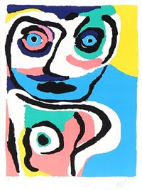 face. abstract composition by karel appel
