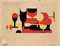 abstract glasses and bottles, a composition in red, yellow, and black by richard filipowski