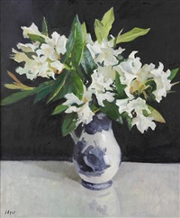 white rhododendrons by norman edgar