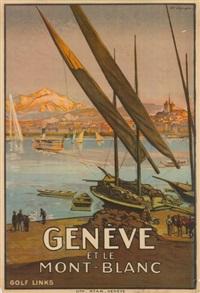 geneve et le mont-blanc by edouard elzingre