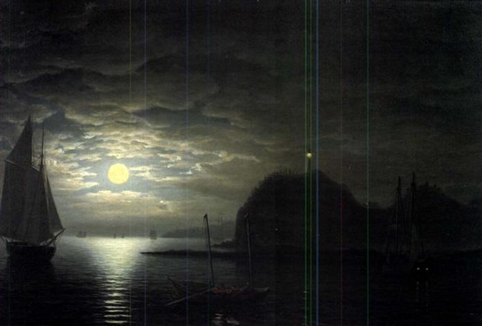 moonlight, owl's head, northeast view by fitz henry lane