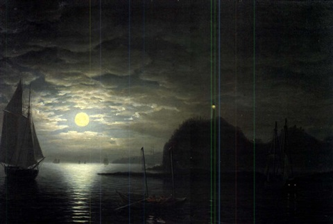 moonlight owls head northeast view by fitz henry lane