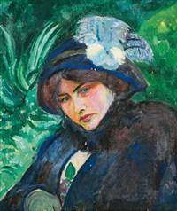 portrait of a lady with hat by friedrich (fritz) ahlers-hestermann
