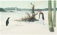 a surrealistic winter landscape (+ another; 2 works) by tobias baanders