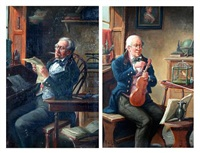 gentleman tuning a violin (+ another; pair) by alexander austen