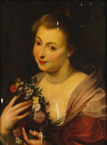 lady holding a garland of flowers by sir peter paul rubens