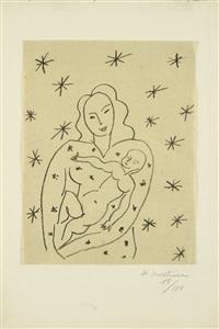 vierge et enfant sur fond étoilé. by henri matisse