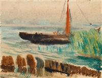 segelboot am ufer.(?) by wilhelm lachnit