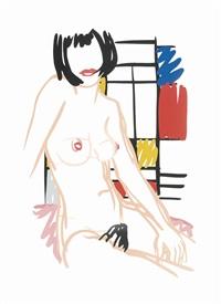 monica sitting with mondrian by tom wesselmann