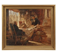 three talmudic scholars debating in a library by josef jaczay
