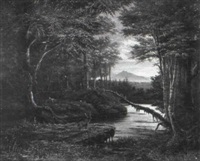 hirsch in waldlandschaft by james y. gant