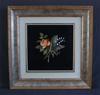 pietra dura floral decorated plaque by marco tacconi