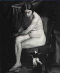 nude woman with a cat by pierre henri vaillant