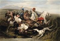 la chasse aux sangliers dans la plaine de sahara (after horace vernet) by jean-pierre-marie jazet