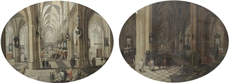 the interior of antwerp cathedral by day the interior of antwerp cathedral by night pair by peeter neeffs the elder