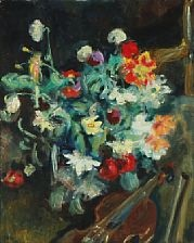 still life with flowers and a violin by sigurd swane