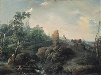 an extensive landscape with travellers on a hillock, a ruin in the foreground by jean baptiste charles claudot