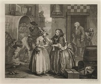 a harlot's progress, plates 1-6 (6 works) by william hogarth