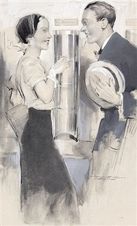 begegnung. junges paar trifft sich in einem stehcafé (illus. for fliegende blätter) by kurt heiligenstaedt