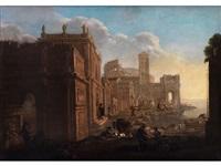 capriccio mit römischer architektur und figuren by alessandro salucci